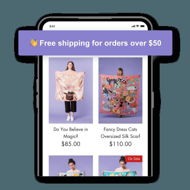 Muestre los beneficios del envío gratuito