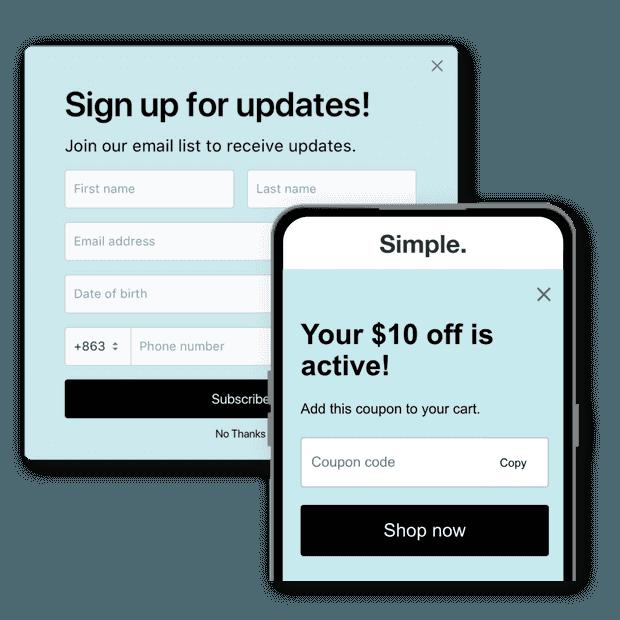 Popups et bannières de sites web
