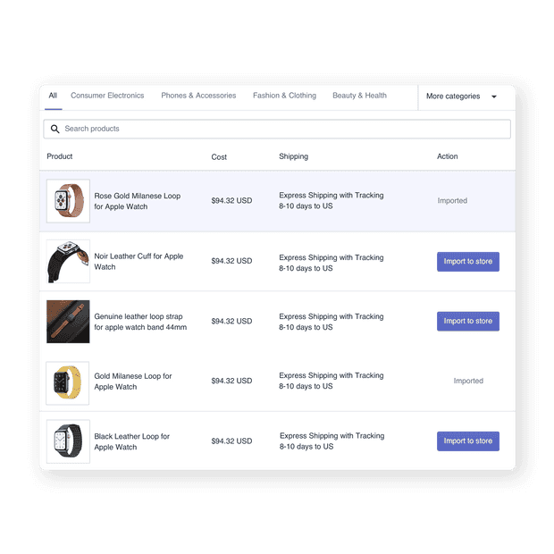 Importer sur Shopify en 1 clic
