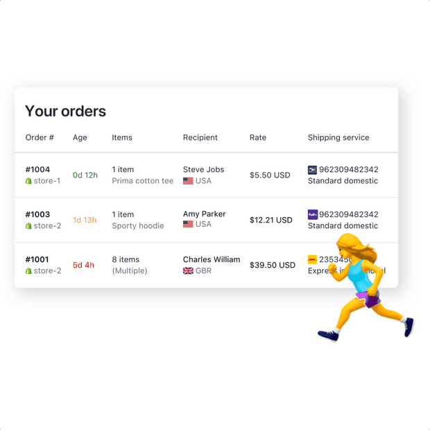 Real-time shipping rate