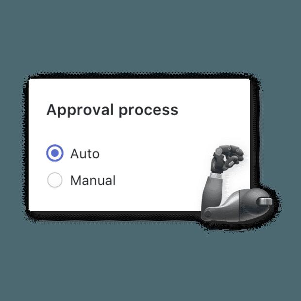 Automatische oder manuelle Genehmigung. Sie können Entscheiden.